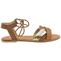 Ravel - Tan 'Navarro' ladies ankle strap peep toe sandals