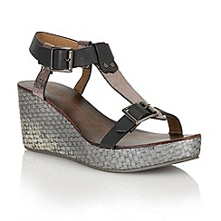 Ravel - Black/pewter 'Hibbing' ladies wedge sandals