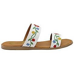 Ravel - White leather 'Savannah' ladies slip on sandals
