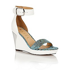 Ravel - White/snake 'Texas' ladies wedge sandals