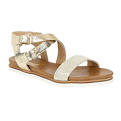 Ravel - Gold 'Torrington' ankle strap slip on sandals