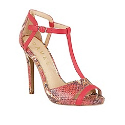 Ravel - Coral 'Mobile' T-bar stiletto heeled sandals