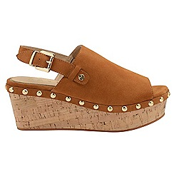 Ravel - Tan 'Cutler' ladies open toe suede wedges