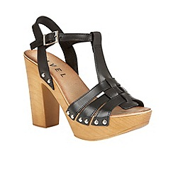 Ravel - Black 'Berwick' T-bar block heeled sandals