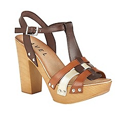 Ravel - Brown 'Berwick' T-bar block heeled sandals