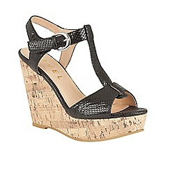 Ravel - Black 'Westport' T-bar open sole wedge sandals