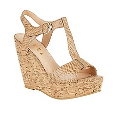 Ravel - Ecru 'Westport' T-bar open sole wedge sandals
