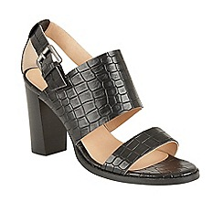 Ravel - Black 'Glide' stacked block heeled sandals