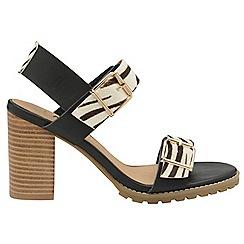 Ravel - Black and zebra 'Dorris' ladies open toe sandals