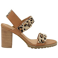 Ravel - Tan and leopard 'Dorris' ladies open toe sandals