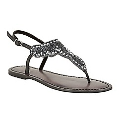 Ravel - Black 'Langlois' ankle strap toe post sandals