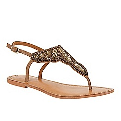 Ravel - Beige 'Langlois' ankle strap toe post sandals