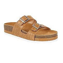 Ravel - Tan 'Ashland' slip on platform buckled sandals