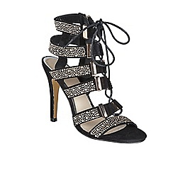 Ravel - Black 'Omak' stiletto heeled lace up sandals