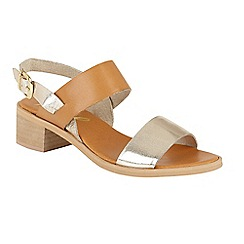 Ravel - Tan/Gold 'Quincy' block heeled open toe sandals