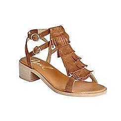 Ravel - Tan 'Almira' ankle strap stacked heel sandals