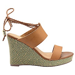 Ravel - Tan 'Gratz' ladies open toe slip on wedges