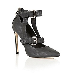 Ravel - Black 'Jamestown' multiple buckle court shoes
