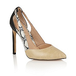 Ravel - Tan/snake/black 'Omaha' ladies court shoes
