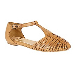 Ravel - Tan 'Springdale' T-bar cage strap effect sandals