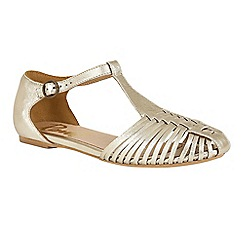 Ravel - Gold 'Springdale' T-bar cage strap effect sandals