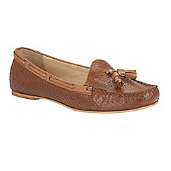 Ravel - Tan 'Eloy' snake effect slip-on tassel loafers