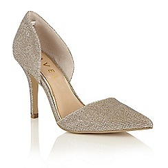 Ravel - Gold sparkle 'Medford' pointed toe court shoes