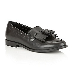 Ravel - Black leather 'Tilden' ladies slip on loafers
