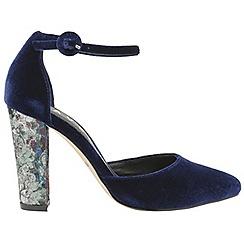 Ravel - Blue 'Milton' ladies velvet ankle strap sandals