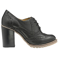 Ravel - Black 'Lemora' ladies high heeled lace up brogues