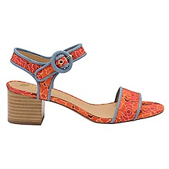 Ravel - V&A Red 'Louise' peep toe ankle strap high shoes