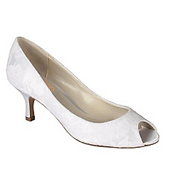 Pink by Paradox London - Ivory satin & lace 'Fondant' peep toe shoe
