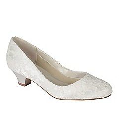 Pink by Paradox London - Ivory satin & lace 'Bon Bon' low heel court shoe