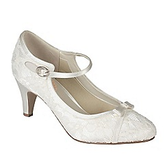 Pink by Paradox London - Ivory satin & lace 'Cupcake' mid heel shoe