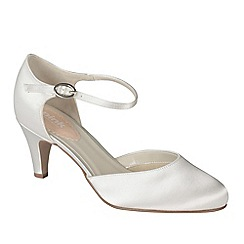 Pink by Paradox London - Ivory satin 'Freesia' mid heel round toe shoe