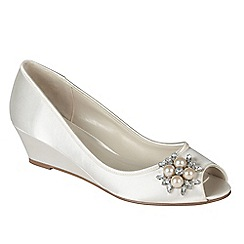 Pink by Paradox London - Ivory satin 'Frosting' wedge peep toe shoe