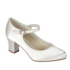 Pink by Paradox London - Ivory satin 'Gardenia' mid heel shoe