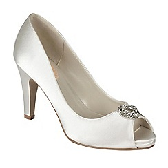 Pink by Paradox London - Ivory satin 'Lustre' peeptoe platform shoe