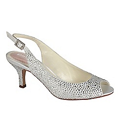 Pink by Paradox London - Ivory satin 'Glimmer' peep toe slingback shoe