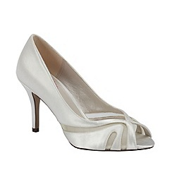 Pink by Paradox London - Ivory satin 'Toffee' peep toe with mesh