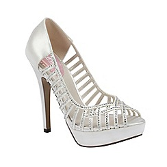 Pink by Paradox London - Ivory satin 'Truffle' peep toe platform with crystal encrusted straps