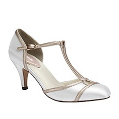 Pink by Paradox London - Ivory satin round toe t-bar 'Tutu'