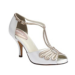 Pink by Paradox London - Ivory satin t-bar sandal ' Scent'