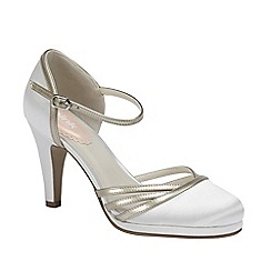Pink by Paradox London - Ivory Satin round toe 'Bunting' with gold leatherette detail