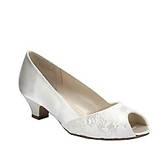 Pink by Paradox London - Ivory satin 'Flourish' peep toe with lace