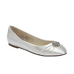 Pink by Paradox London - Ivory satin 'Flutter' round toe ballet pump