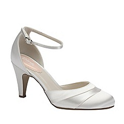 Pink by Paradox London - Ivory satin 'Fresh' round toe with ankle strap