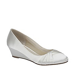 Pink by Paradox London - Ivory satin 'Gleam' round toe wedge
