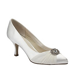 Pink by Paradox London - Ivory satin 'Splendour' court shoe with chiffon overlay