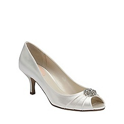 Pink by Paradox London - Ivory satin 'Zest' pleated peep toe with trim